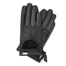 Женские кожаные перчатки с вырезом, черный, 46-6-302-1-S, Фотография 1