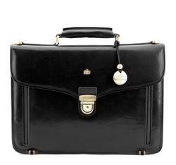Классический кожаный портфель, черный, 10-3-010-1, Фотография 1