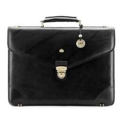 Кожаный портфель с треугольным клапаном, черный, 10-3-016-1, Фотография 1