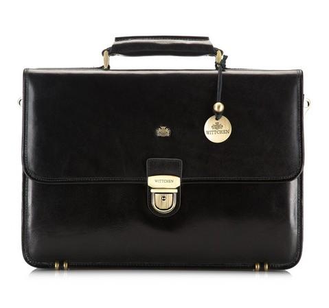 Кожаный портфель с прямоугольным клапаном, черный, 10-3-050-4, Фотография 1