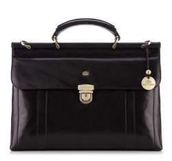 Кожаный портфель с вертикальной строчкой, черный, 10-3-284-1, Фотография 1