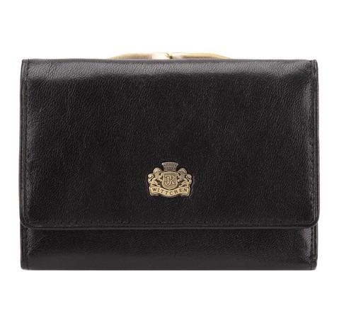 Женский кожаный кошелек с гербом  на защелке, черный, 10-1-053-3, Фотография 1