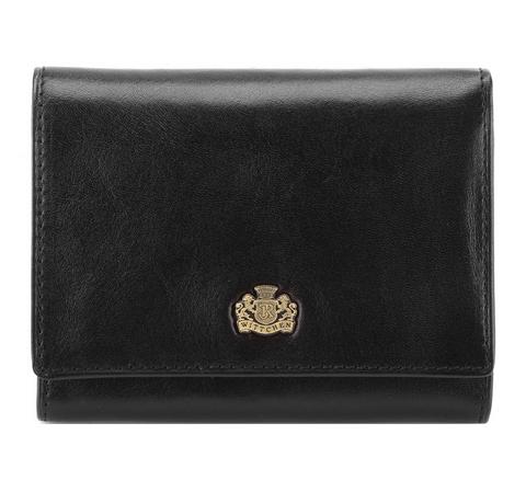 Женский кожаный кошелек с гербом на кнопке, черный, 10-1-070-4, Фотография 1