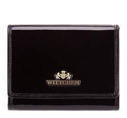 Женский кошелек из лакированной кожи среднего размера, черный, 25-1-070-1, Фотография 1