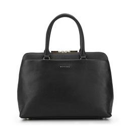 Простая кожаная сумка с большим карманом, черный, 93-4E-607-1, Фотография 1