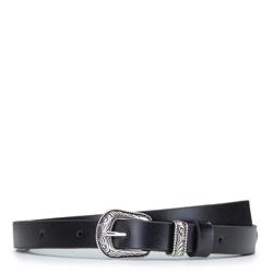 Женский кожаный ремень с орнаментом, черный, 92-8D-304-1-XL, Фотография 1