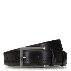 Мужской кожаный ремень с строчкой, черный, 91-8M-326-1-10, Фотография 1
