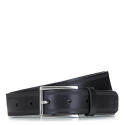 Ремень мужской кожаный с перфорированными краями, черный, 92-8M-360-1-12, Фотография 1