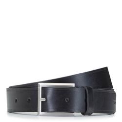 Ремень кожаный мужской с дырками, черный, 92-8M-363-1-90, Фотография 1