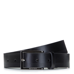 Ремень мужской кожаный с перфорированным краем, черный, 92-8M-364-1-11, Фотография 1