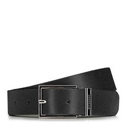 Ремень мужской кожаный с прямоугольной пряжкой, черный, 91-8M-321-1-12, Фотография 1