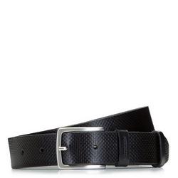 Ремень мужской кожаный с тиснением, черный, 92-8M-501-1-10, Фотография 1