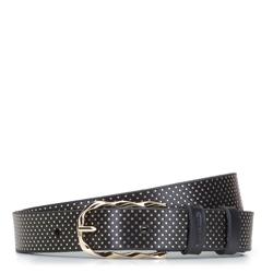 Женский кожаный ремень в горошек, черный, 92-8D-301-1-M, Фотография 1