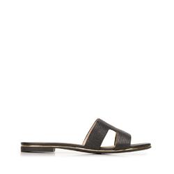 Женские сандалии из кожи с текстурой ящерицы, черный, 92-D-554-1-40, Фотография 1