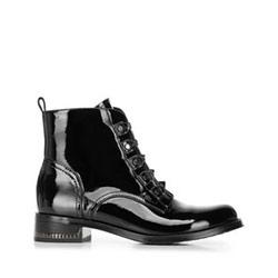 Ботинки из лакированной кожи на плоской подошве, черный, 91-D-953-1-36, Фотография 1