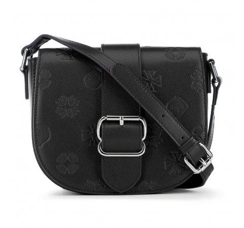 Полукруглая кожаная сумка через плечо с тиснением, черный, 91-4E-612-3, Фотография 1