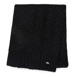 Женский плетеный шарф, черный, 91-7F-201-1, Фотография 1