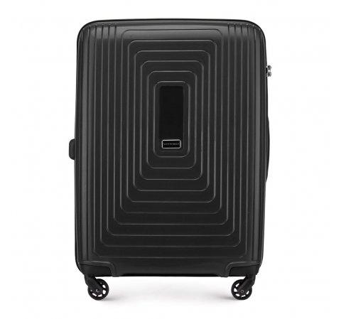 Средний чемодан из полипропилена с геометрическим узором, черный, 56-3T-782-10, Фотография 1