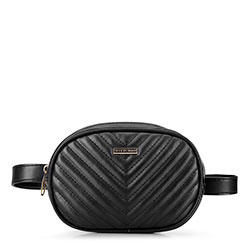 Женская овальная стеганая сумка на пояс, черный, 92-4Y-574-1, Фотография 1