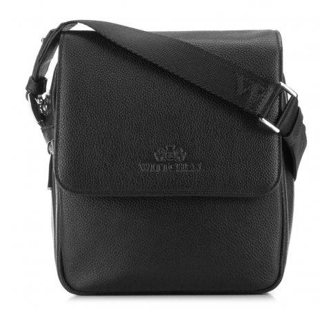 Кожаная мужская сумка-мессенджер с большим клапаном, черный, 20-3-030-1H, Фотография 1