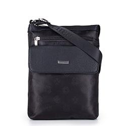 Женская сумка через плечо из ткани с логотипами и карманом, черный, 29-4L-300-1, Фотография 1