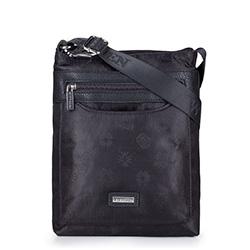 Женская сумка через плечо из ткани с логотипами и молнией, черный, 29-4L-301-1, Фотография 1