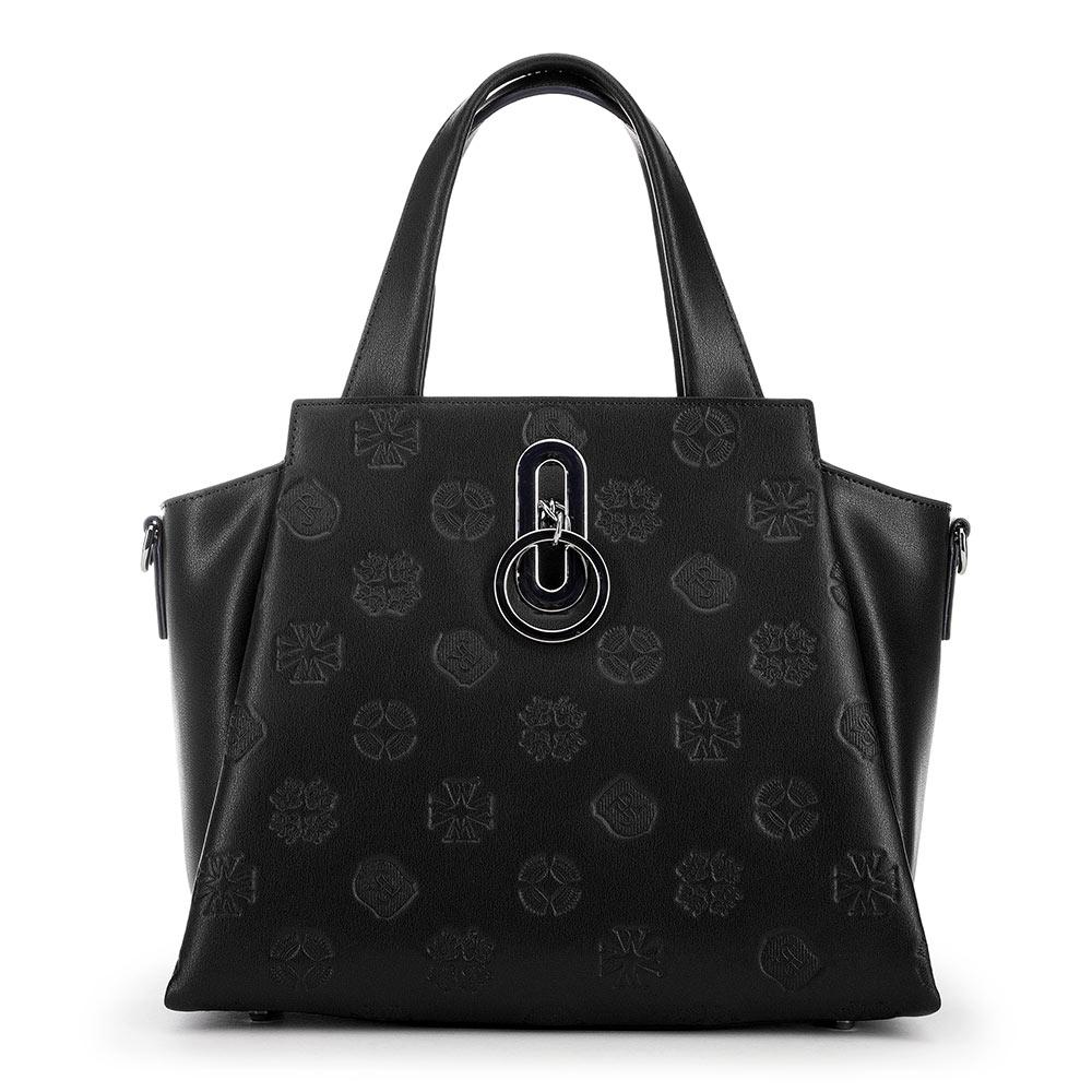 Женская кожаная сумка-саквояж, черный, 91-4E-626-1, Фотография 1