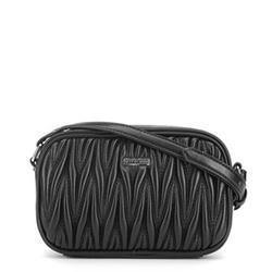Женская гофрированная сумка через плечо, черный, 91-4Y-602-1, Фотография 1