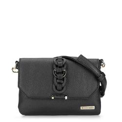 Женская сумка через плечо с переплетеньем, черный, 92-4Y-241-1, Фотография 1