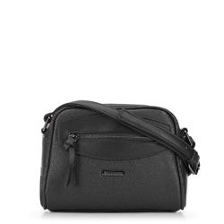 Сумка через плечо с декоративной вставкой, черный, 92-4Y-201-1, Фотография 1