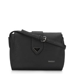 Женская сумка через плечо с треугольной деталью, черный, 91-4Y-704-1, Фотография 1