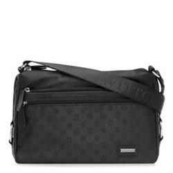 Женская сумка через плечо из кожи и жаккарда с монограммой, черный, 93-4-251-1, Фотография 1