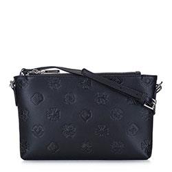 Женская кожаная сумка через плечо с монограммой, черный, 93-4E-694-1, Фотография 1