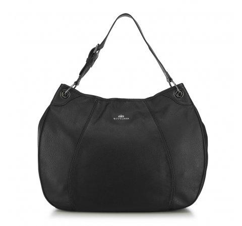 Закругленная кожаная сумка, черный, 91-4E-314-1, Фотография 1