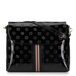 Женская сумка через плечо из лакированной кожи с монограммой, черный, 34-4-233-1, Фотография 1