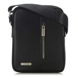 Мужская сумка через плечо из кожи и нейлона, черный, 91-4U-202-1, Фотография 1