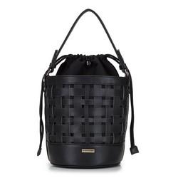 Сумка-мешок плетеная из канвы, черный, 92-4Y-604-1, Фотография 1