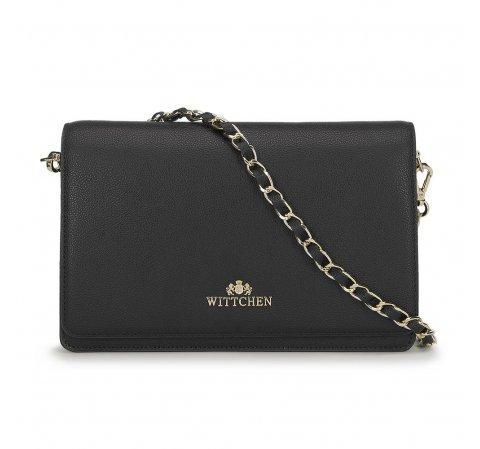 Женская кожаная сумка через плечо с золотыми деталями, черный, 91-4E-617-4, Фотография 1