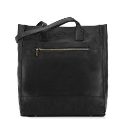 Женская кожаная сумка-шоппер, черный, 91-4E-301-1, Фотография 1