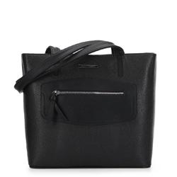 Сумка-шоппер с декоративной вставкой, черный, 91-4Y-200-1, Фотография 1