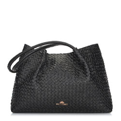 Сумка-шоппер из плетеной кожи, черный, 92-4E-901-1, Фотография 1