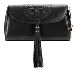 Женская кожаная сумка через плечо с мандалой и подвеской-кисточкой, черный, 04-4-069-1, Фотография 1
