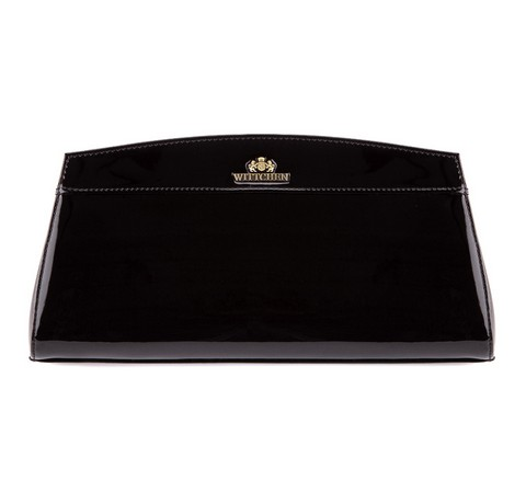 Вечерняя сумка трапециевидной формы из лакированной кожи, черный, 25-4-516-3, Фотография 1