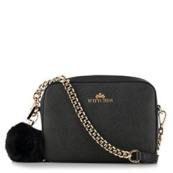 Женская кожаная сумка через плечо с помпоном, черно-золотой, 29-4E-003-11, Фотография 1