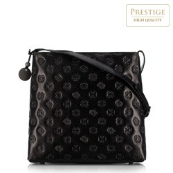 Женская большая кожаная сумка через плечо с монограммой, черный, 33-4-053-1L, Фотография 1