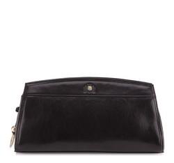 Кожаный клатч с двойной магнитной застежкой, черный, 39-4-516-1, Фотография 1