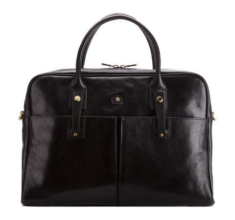 Женская кожаная сумка для ноутбука с аксессуарами, черный, 39-4-531-3, Фотография 1