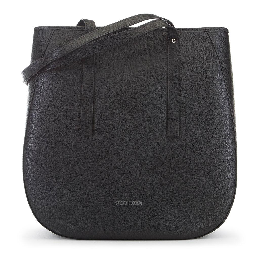 Женская кожаная сумка-шоппер, черный, 91-4E-602-1, Фотография 1
