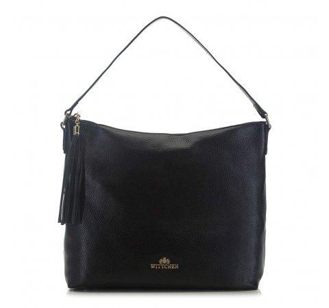 Кожаная сумка с декоративной кисточкой, черный, 91-4-706-1, Фотография 1