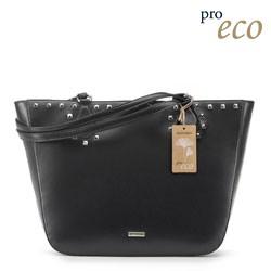 Трапециевидная сумка-шоппер из экокожи, черный, 91-4Y-253-1, Фотография 1